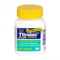 TITRALAC PLUS ANTACID & ANTI-GAS TABLETS, SPEARMINT 100 caps