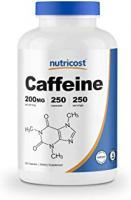NUTRICOST CAFFEINE PILLS 200MG PAR PORTION 250 GELULES