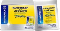 PREPARATION H RAPID RELIEF AVEC DE LA LIDOCAINE HEMORROIDES SYMPTOMES TRAITEMENT FLUSHABLE ESSUIE BOX 30COUNT